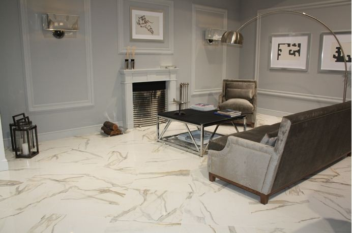 Italian Calacatta Gold Solid Honed Finish Marble Flooring