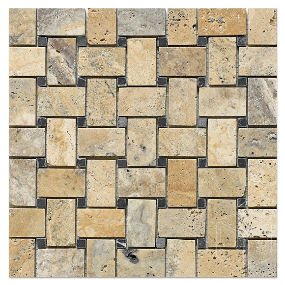 Philadelphia Scabos Travertine Basketweave Honed With Black Dot Mosaic Tile