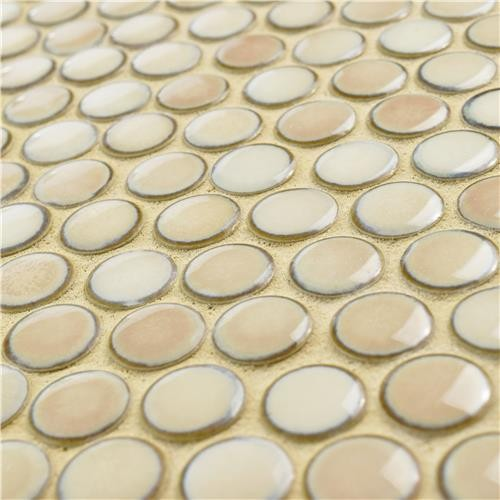 London Beige Cream Penny Round Glossy Porcelain Mosaic Tile