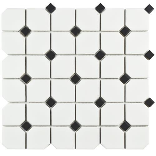 Cityside Matte Pearl with Black Dot Hexagon 11-3/4 in. x 11-3/4 in. x 6 mm Porcelain Mosaic Tile