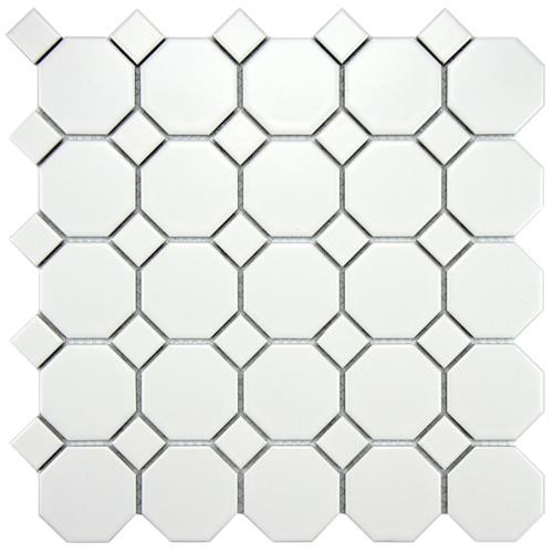 Cityside Matte White with Dot Octagon 11-1/2 in. x 11-1/2 in. x 5 mm Porcelain Mosaic Tile (9.2 sq.ft./case)