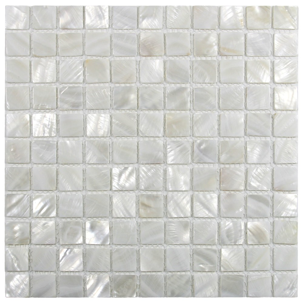 "Mother of Pearl Arctic Oyster White pearl shell 1""x 1"" square polished mosaic tile"