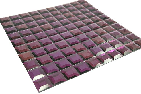 "Contemporary series purple pyramid 1 1/4"" x 1 1/4"" square glass mosaic tile"