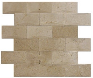 2x4 Crema Marfil Marble Brick Pillow Pattern Polished Mosaic Tile