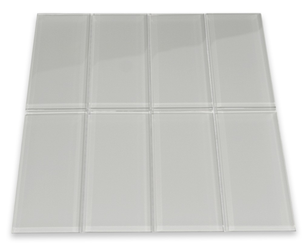 "Broadway Smoky Gray Lithium 3"" x 6"" glass mosaic tile Mesh-mounted for Easy Installation"