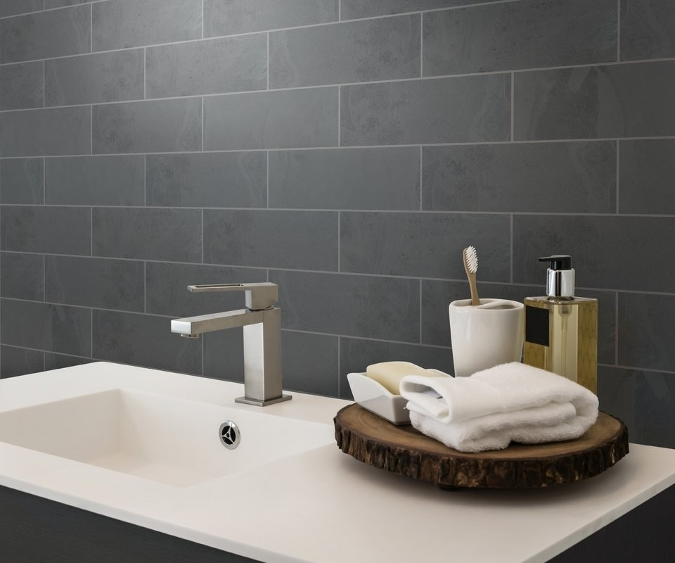 Montauk Black Slate 4x12 Subway Tile