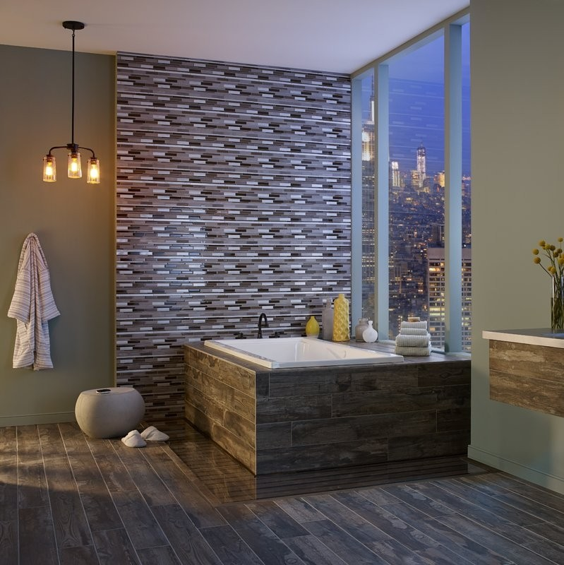 Madison Avenue Interlocking Glass Metal Blend Mosaictile