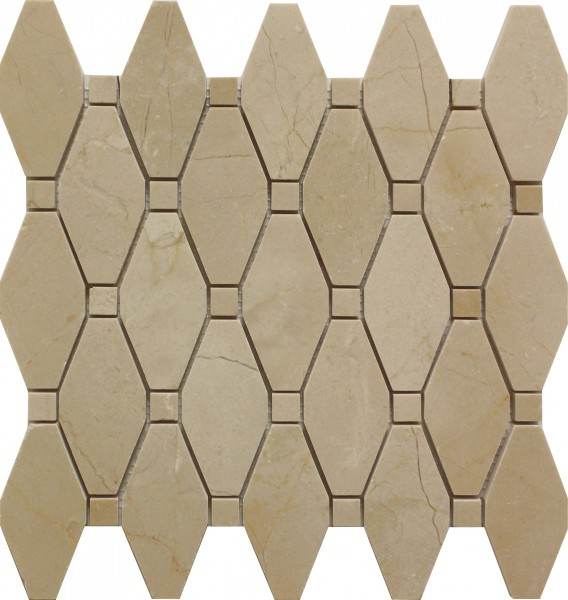 Crema Marfil Alexandria Pattern Polished Mosaic Tile by Soci