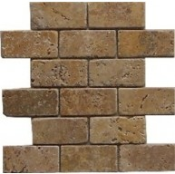 2x4 Tuscany Noce Travertine Brick PatternTumbled Finish Mosaic Tile