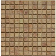 1x1 Red Travertine Square Pattern Tumbled Finish Mosaic Tile