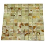 1x1 Light Green Onyx Square Pattern Polished Finish Mosaic Tile