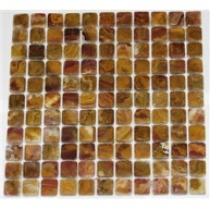 1x1 Multi Brown Gold Onyx Square Pattern Tumbled Finish Mosaic Tile
