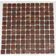 1x1 Multi Red Onyx Square Pattern Tumbled Finish Mosaic Tile