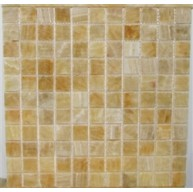 1x1 Honey Onyx Square Pattern Polished Finish Mosaic Tile