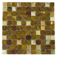 1x1 Mocha Honey Onyx Square Pattern Polished Finish Mosaic Tile