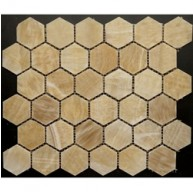 2x2 Honey Onyx Hexagon Pattern Polished Finish Mosaic Tile