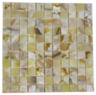 1x1 Rustic White Onyx Square Pattern Polished Finish Mosaic Tile
