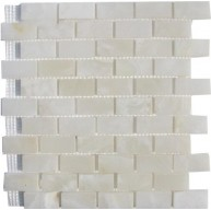 1x2 Pearl White Onyx Bricks Pattern Polished Finish Mosaic Tile