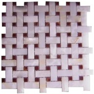 1x2 White Onyx Basketweave Polished Finish Mosaic Tile with 5/8 in. Red Dot Inserts