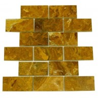 2x4 Multi Brown Onyx Brick Pattern Polished Finish Mosaic Tile
