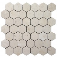2x2 Crema Marfil Marble 2 Inch Hexagon Pattern Polished Mosaic Tile
