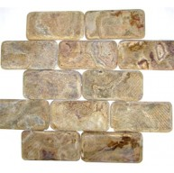 3x6 Multi Brown Onyx Subway Pattern Tumbled Finish Mosaic Tile