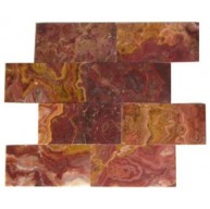 3x6 Multi Red Onyx Subway Pattern Polished Finish Mosaic Tile