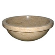 16 in. Round Sahara Gold Marble Bathroom Sink Vessel Undermount