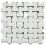 Thassos White 1x2 Basketweave Mosaic Tile Ming Green Dots Polished Marble from Greece