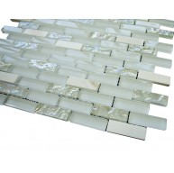 Vintrav 1/2 in. x 2 in. marble clean white blend & white glass mosaic tile