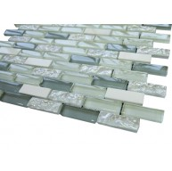 Vintrav light blue derk blue & white glass 1/2 in. x 2 in.bricks pattern mosaic tile