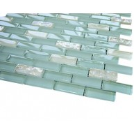 Vintrav sky blue & white glass 1/2 in. x 2 in.bricks pattern mosaic tile
