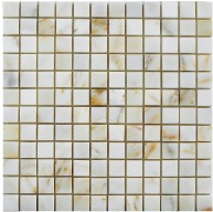 Afyon Sugar 1x1 Square Pattern Polished Marble Mesh Mounted Mosaic Tile