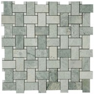 Ming Green Marble Basketweave with White Dot Polished Mosaic Tile