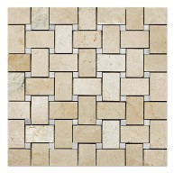 Botticcino 1x2 Basketweave with Milas White Dots Mesh-Mounted Mosaic Tile