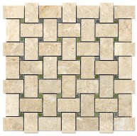 Bursa Beige Basketweave Polished Marble with Verde Laguna Dot Mosaic Tile