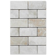Botticcino Brick Tumbled Marble Mesh Mounted Mosaic Tile