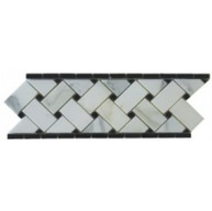 Premium Italian Calacatta Gold Marble Basketweave Polished 4 in. x 12 in. Border Mosaic with Black Accents