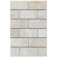 Cappuccino Brick Pattern Tumbled Marble Mesh Mounted Mosaic Tile