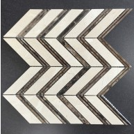 Chevron Pattern Crema Marfil and Dark Emperador Polished Marble Mosaic Tile