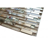 Newport bashful brown blend 12 in. x 12 in.stainless steel & white crystal & galaxy glass mosaic tile