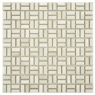 Boulder Glossy Pearl Square 12 in. x 12 in. x 6 mm Weave Glacier Porcelain Mosaic Tile