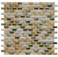Boulder Glossy Multi Brick Subway 11-3/4 in. x 11-3/4 in. x 6 mm Springfield Porcelain Mosaic Tile