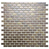 Boulder Glossy Cedar Brick Subway 11-3/4 in. x 11-3/4 in. x 6 mm Tetsu Ore Glazed Porcelain Mosaic Tile