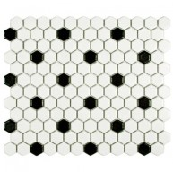 Cityside Matte White Hexagon with Black Dot 10-1/4 in. x 11-3/4 in. x 5 mm Porcelain Mosaic Tile (8.54 sq. ft. / case)