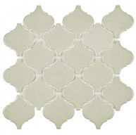Cityside Glossy Bone Grey Lantern Pattern 9-3/4 in. x 10-1/4 in. x 6 mm Porcelain Mosaic Tile