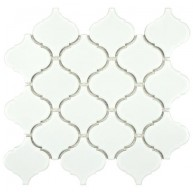 Cityside Glossy White Lantern Pattern 9-3/4 in. x 10-1/4 in. x 6 mm Porcelain Mosaic Tile