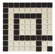 Salt & Black Matte Square 9-3/4 in. x 9-3/4 in. x 5 mm Greek Key Corner Unglazed Porcelain Mosaic Trim Tile
