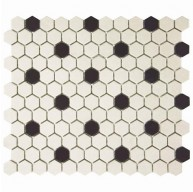 Ivory Matte Hexagon with Black Dot 10-1/4 in. x 12 in.Antique Unglazed Porcelain Mosaic Tile (8.54 sq. ft. / case)
