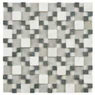 Multi Tumbled Square 12 in. x 12 in. x 12 mm Gaodi Charcoal Natural Stone Mosaic Wall Tile
